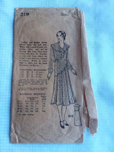 Antique Sewing Pattern- # 219 ----Ladies Dress 1920-1930