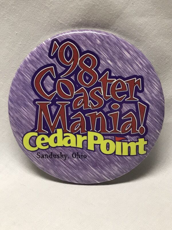 "1998 Coaster Mania Annual 3"" Button Pin Cedar Point Amusement Park Sandusky Ohio"