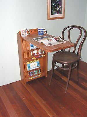 - fold out end table,desk & Magazine Rack,(oak) for RV trailer pull up leaf (NEW )