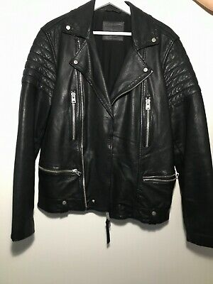 All Saints Mens Black Leather Jacket Biker M Motorcycle Must Have Buy SHIPS FAST