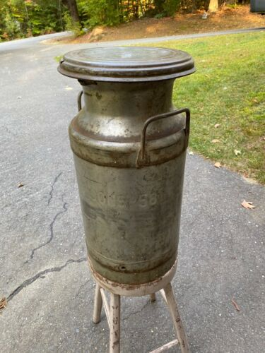 Vintage 5 Gallon Steel Milk Can With Cover  - Signed Hood - Rusty