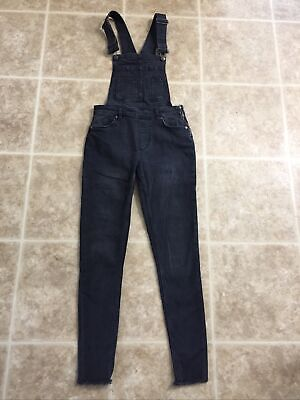 Vintage Overalls & Jumpsuits Free People Gray/Faded Black Overall Raw Hems Skinny Jeans Size 26 $25.00 AT vintagedancer.com
