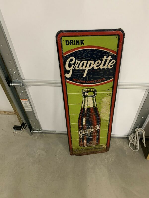"Vintage RARE Vertical Grapette Bottle GRAPE Soda Drink Sign 13"" x 39"" GAS OIL CO"