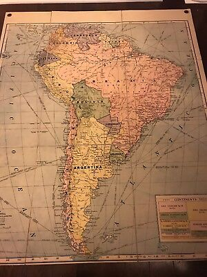 Vintage Cloth School Hanging Teaching Map South America George F.  Cram Pre WWII