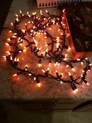 Halloween~11FT~150 Orange Garland Lights~Black Wire~Indoor/Outdoor(B12)