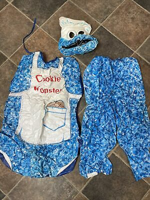 Vtg 70s Ben Cooper Cookie Monster Costume Mask + 2 Pc Outfit No Box USA