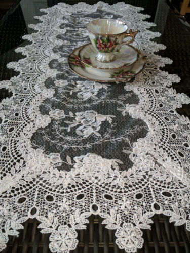 "Dresser Scarf Sheer Lace Vintage English Rose 35"" x 16"" Table Runner Victorian"