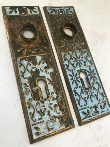 2 OLD ART CRAFT EASTLAKE VICTORIAN SHABBY BRASS DOOR KNOB BACK PLATE HARDWARE