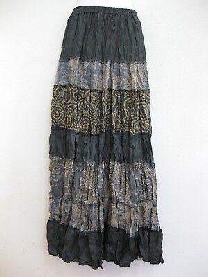 Ladies Long Patchwork Skirt Hippie Gypsy Lagenlook Bohemian Boho Peasant PLS