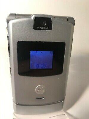 Motorola RAZR V3 - Silver Grey (Orange Network) Flip Mobile Phone