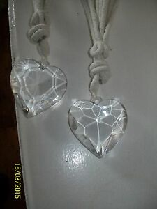 pair of diamante  heart curtain tie backs shabby chic vintage
