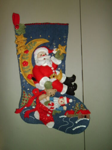 "1-Moonlight Santa Finished 18"" Christmas Stocking Ready to Hang! New & Handmade!"