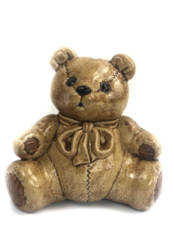 KIDDIE LITES Teddy Bear Piggy Bank Ceramic Hand Painted