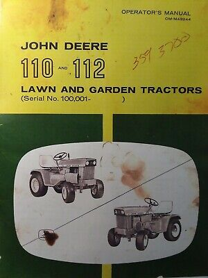 John Deere 110 112 Lawn Garden Tractor Owner Parts 2 Manual S Sn 100000-up