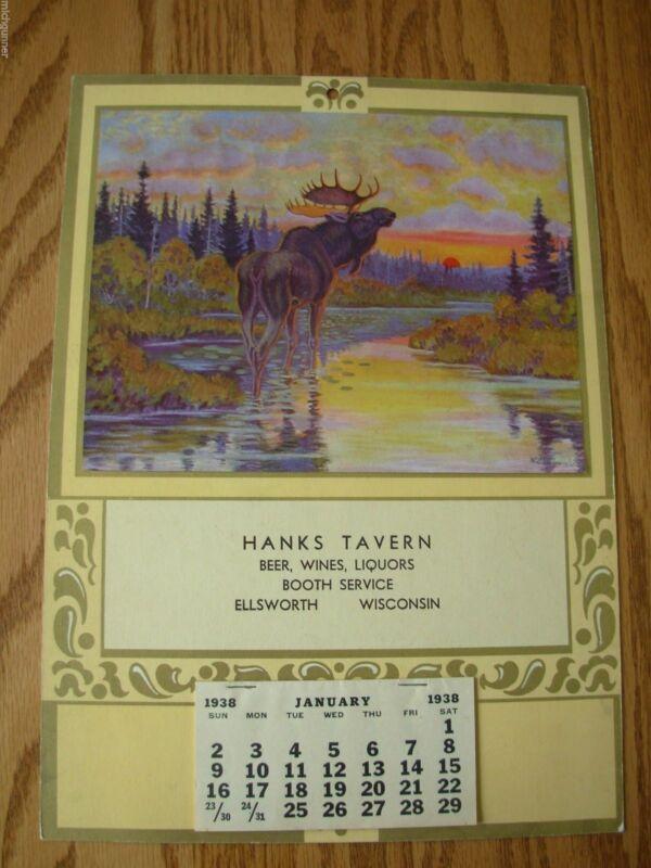 RARE 1938 MOOSE CALENDAR HANKS TAVERN WISCONSIN