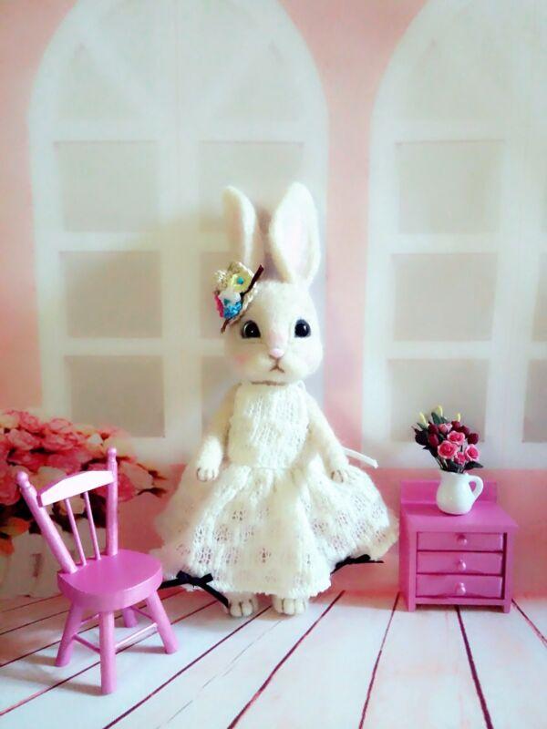"""OOAK 9"""" Needle Felted * EASTER Bunny Rabbit Baby Girl * by Artist Scuznyuki"""