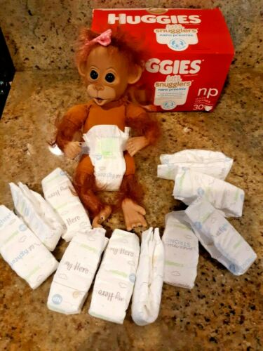 10 TINY DIAPERS FOR MONKEYS OR DOLLS UP TO 2 PD   NO DOLL INCLUDED  nano preemie