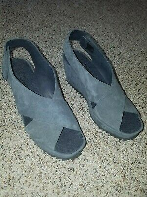 PEDRO GARCIA Wedge Sandals Platform Gray Suede Shoes 37.5 NEW
