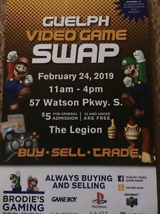 Guelph Video Game Sale Feb 24 11-330 Sunday