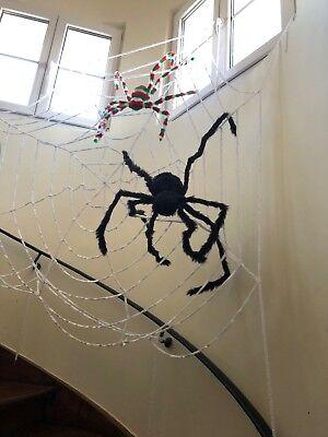 Halloween Karneval Fasching 277cm riesiges Spinnennetz, schwarze Bunte Spinne