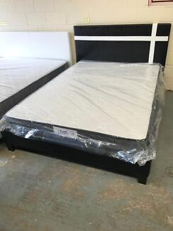 Special Brand new leather bed frame with medium mattress D$280,Q$320