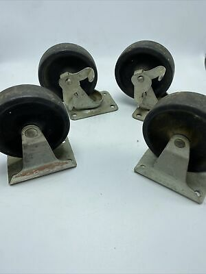 Swivel Casters 4 Wheels Industrial Strength A-5549 Set Of 4 Vintage Two Brakes