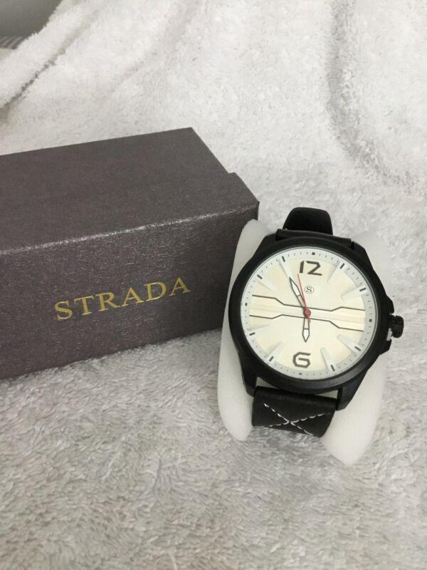 Strada+Japanese+Movement+Water+Resistance+Black%2FCream+Watch+New+7%E2%80%9D%2F8.75%E2%80%9D