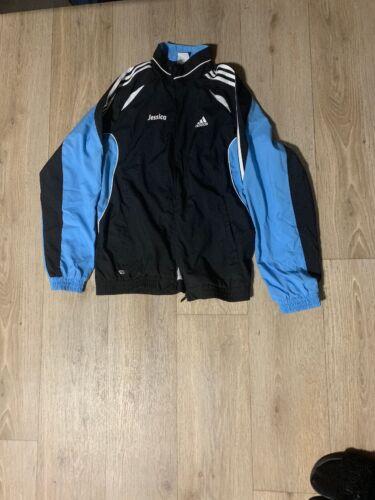 Adidas Fußballjacke Laufjacke Mädchen Sportjacke Fitnessjacke Blau Schwarz Damen