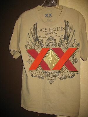 DOS EQUIS CERVEZA T-Shirt Size Medium Tan