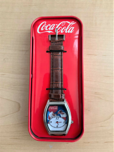 New Coca-Cola Santa Claus Quartz Watch With Faux Leather Band in Collectible Tin