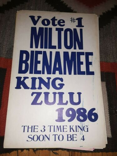 MILTON BIENAMEE King Zulu Mardi Gras New Orleans Original Poster 14 x 22 1986