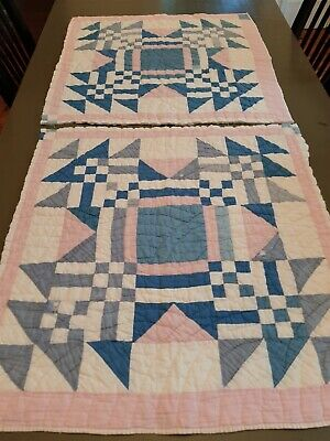 Vintage Cutter Quilt Blocks ~ Young Man's Fancy ~ Big, Bold, Lot of 2!