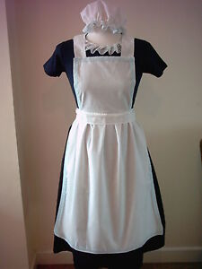 GIRLS APRON AND MOP CAP blue lace trim fancy dress costume victorian alice tudor