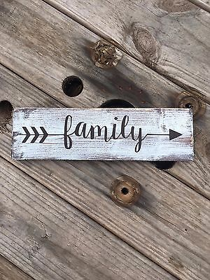 Handmade family with arrows farmhouse style decor. rustic wood sign. primitive