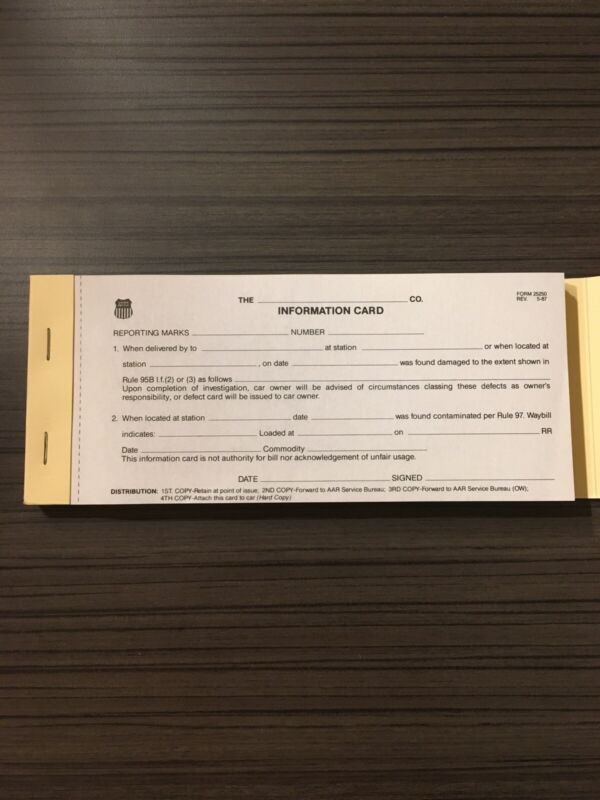 Union Pacific Railroad Information Card Stationary Form 25250