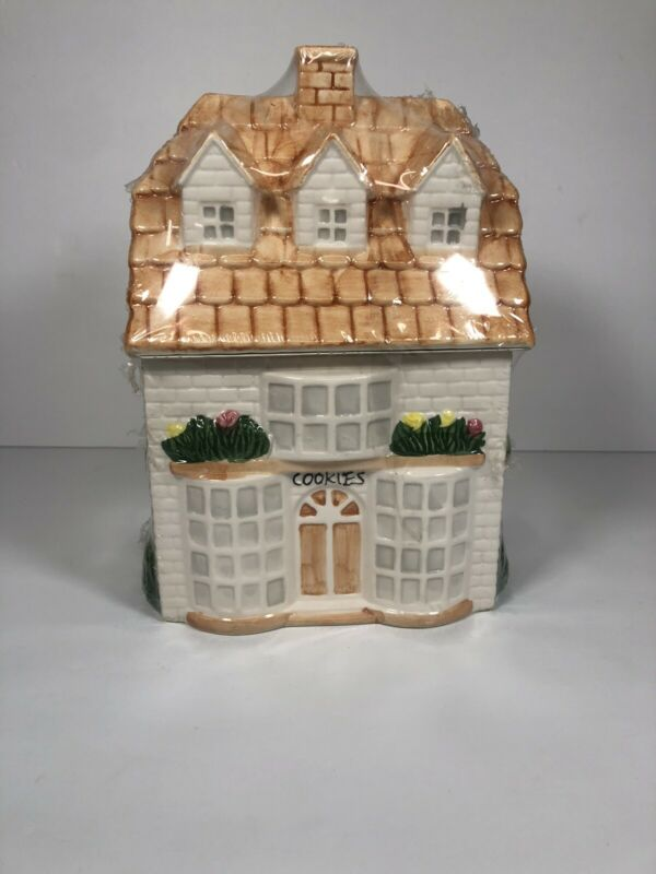 Cottage Ceramic Cookie Jar House with Dormers