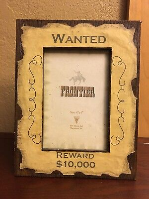 """DEZINE Frame - Hand Painted - """"WANTED REWARD $10,000"""" 4"""" x 6"""" Picture"""