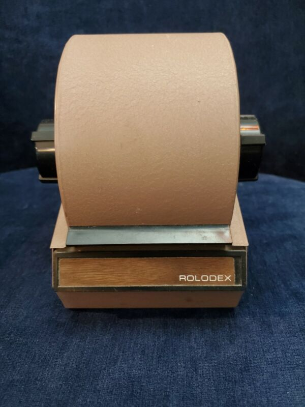 Vintage Rolodex Rotary Card File Metal Beige Tan #1753 Address Cards Works Great