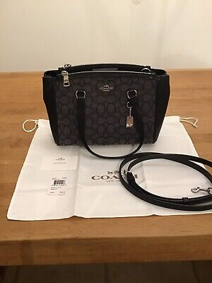 Coach Stanton 26 Bag Black Leather and Grey Logo Fabric