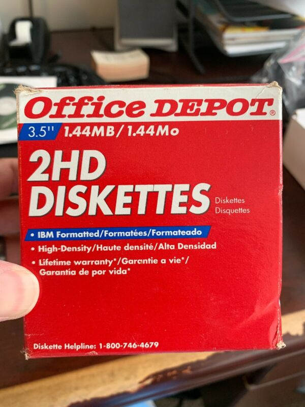 "25 New Office Depot 2 HD Floppy Diskettes 3.5"" 1.44MB High Density IBM"