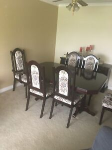 Solid wood six chair Dining table and cabinet
