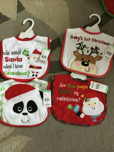 BRAND NEW Set Of 4 Baby Bibs Christmas, Holiday, Baby's 1s