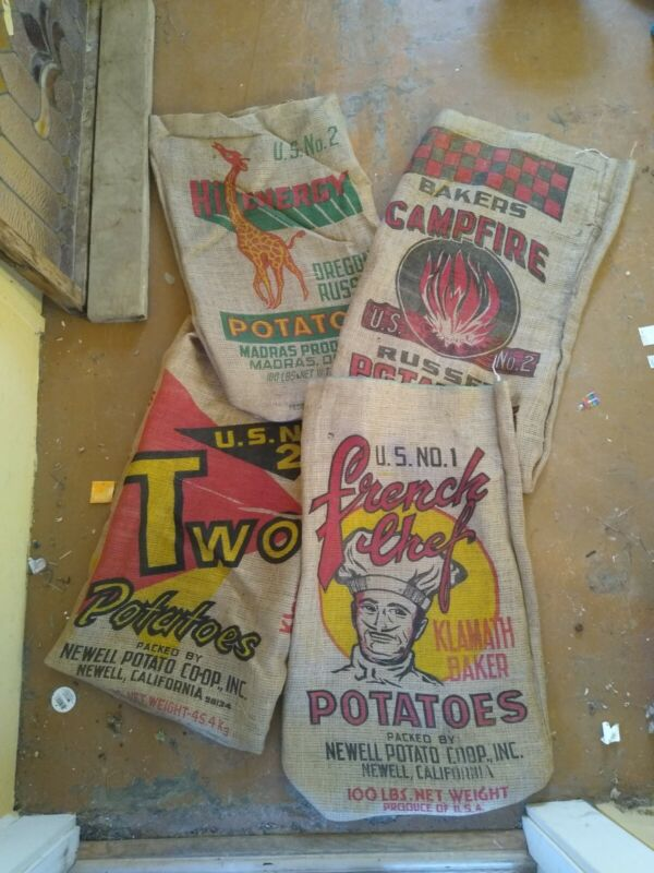 Vintage burlap potato sacks 100lb set of 3 assorted