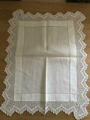 White crocheted edge tray cloth