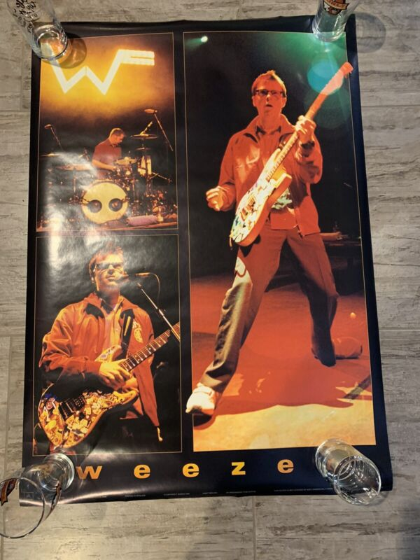 WEEZER Live 3 pics Poster Rivers Pat RARE NEW Never Displayed BLUE GREEN 18x24