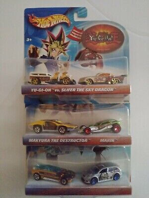 LOT OF 3 HOT WHEELS WITH STICKERS YU-GI-OH! 2 CAR SETS