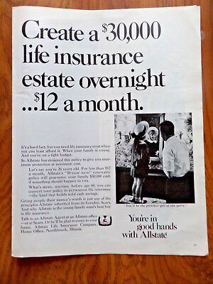 1968 Allstate Insurance Ad  Create A  30 000 Life Estate Overnight  12 A Month