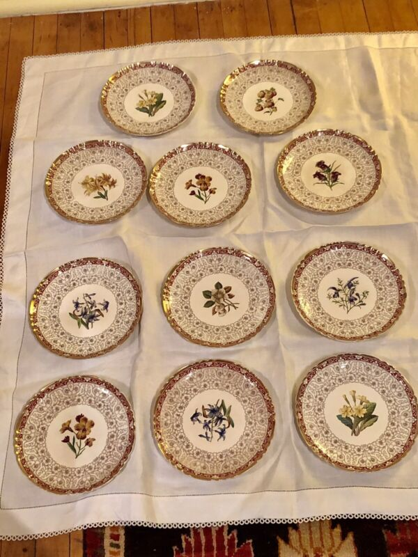 11 Minton 19th C Aesthetic Movement Botanical Dessert Luncheon Cabinet Plates