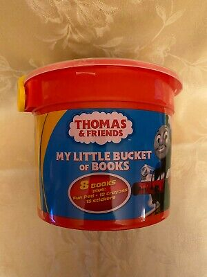 THOMAS THE TRAIN & FRIENDS MY LITTLE BUCKET OF BOOKS Book Set Crayons More NEW