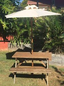 Children 39 S Outdoor Wooden Picnic Table With Umbrella Outdoor